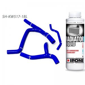 ZAP Silikon-Kühlerschläuche Kawasaki KXF450 09-15 blau  Y-Kit + 1Liter Ipone Kühlflüssigkeit