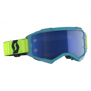 SCOTT Fury MX-Brille  Teal Blue/Neon Yellow / Electric Blue Chrome Works