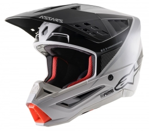 Alpinestars SM5  MX-Helm Rayon Light Grey/Silver Matt Gr: L