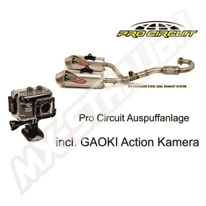 Pro Circuit T-6 Stainless Steel Dual System Honda CRF 250 14- 15 SS/AL  incl. GAOKI Action Kamera