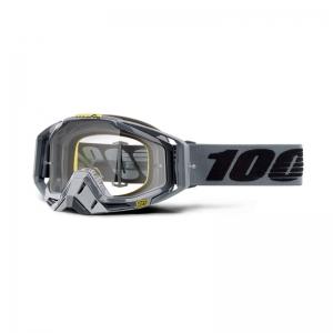 100% Racecraft MX Brille Nardo grau-schwarz mit klarem Glas