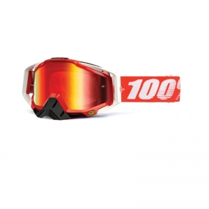 100% MX-Brille Racecraft Extra Fire Red Mirror Red