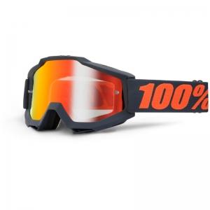 100% MX-Brille Accuri Extra Gunmetal Mirror Red